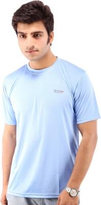 Being Champion Solid Men's Round Neck Blue T-Shirt