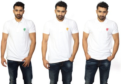 1OhOne Solid Men,s Polo White, Green, Red, Orange T-Shirt