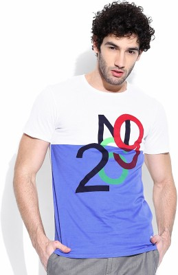 United Colors of Benetton Printed Men's Round Neck Grey, Blue T-Shirt