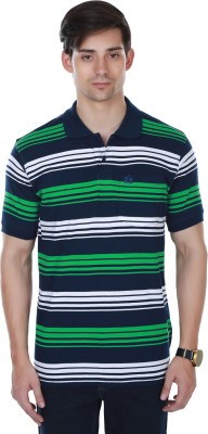 Cotton County Premium Striped Men's Flap Collar Neck Green T-Shirt
