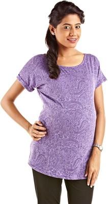 Kriti Western Maternity Printed Women's Round Neck Purple T-Shirt