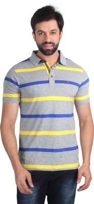 Nostrum Jeans Solid Men's Polo Neck Grey, Yellow, Blue T-Shirt