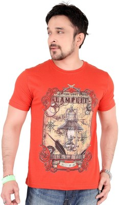 Moncheri Striped Men's Round Neck Orange T-Shirt