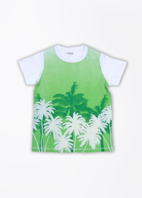 People Printed Boy's Round Neck White, Green T-Shirt