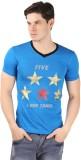 A1 Tees Printed Men's V-neck Blue T-Shir...