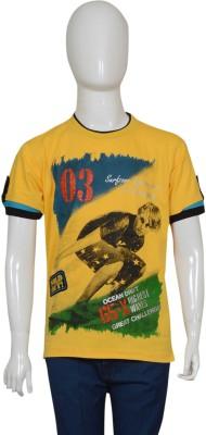 Puppet Nx Printed Boy's Round Neck Yellow T-Shirt