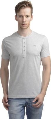 WRIG Solid Men's Henley Grey T-Shirt