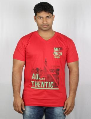 Mr Sha Printed Men's Round Neck Red T-Shirt