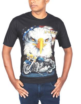 Rock Eagle Graphic Print Men's Round Neck T-Shirt