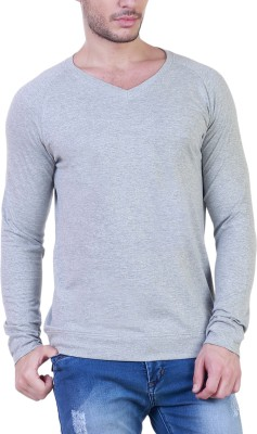 Unkonventional Solid Men's V-neck Grey T-Shirt