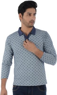 Lawman Printed Men's Polo Neck Grey T-Shirt