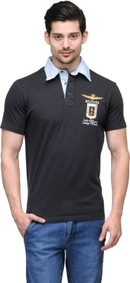 Global Nomad Self Design Men's Polo Neck Grey T-Shirt
