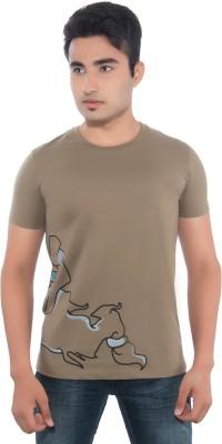 Pavitra Paapi Printed Men's Round Neck Brown T-Shirt