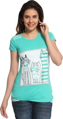 Maatra Printed Women,s Round Neck Green T-Shirt