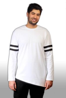 Witty Vogue Applique, Solid Men's Round Neck White T-Shirt
