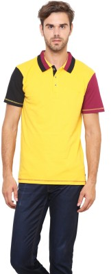 Lemon & Vodka Solid Men's Polo Neck Yellow T-Shirt