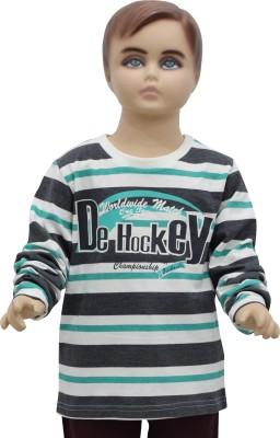 Urban Forest Striped Boy's Round Neck Green T-Shirt