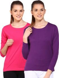 Ap'pulse Solid Women's Round Neck Pink, Purple T-Shirt