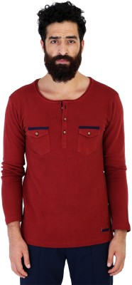 Mr Button Solid Men's Henley Maroon T-Shirt