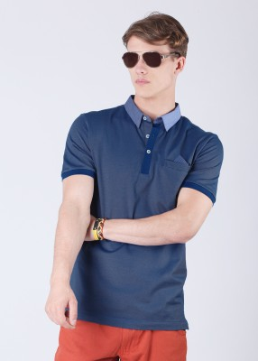 Arrow Solid Men's Polo Blue T-Shirt