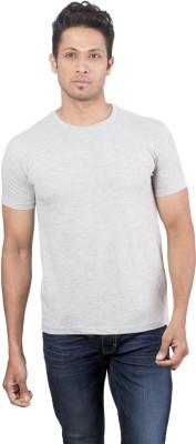 Oviyon Solid Men's Round Neck Grey T-Shirt