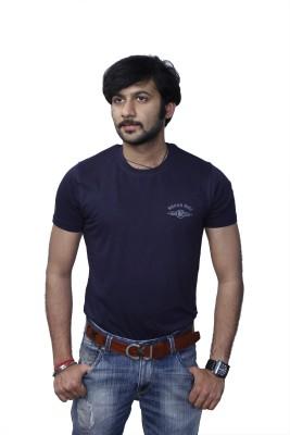 Rough Ride Solid Men's Round Neck Blue T-Shirt
