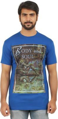 curviva Printed Men's Round Neck Blue T-Shirt