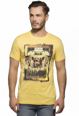 Yo Republic Printed Men's Round Neck Yellow T-Shirt