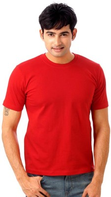 Subu Solid Men's Round Neck Red T-Shirt