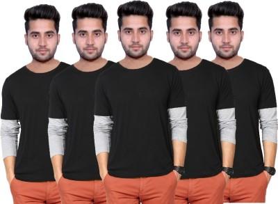 Martech Solid Men's Round Neck Black, Grey T-Shirt