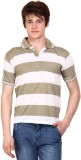 Wajbee Striped Men's Polo Neck T-Shirt