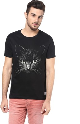 Henry and Smith Printed Men's Round Neck Black T-Shirt