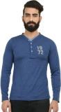 Western Vivid Solid Men's V-neck Blue T-...