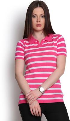 Manola Striped Women's Flap Collar Neck Pink T-Shirt