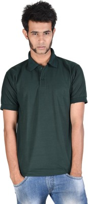 Whistle Solid Men's Polo Neck Dark Green T-Shirt