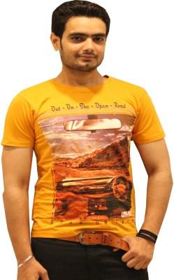 GOPAL EMPORIUM Printed Men's Round Neck Gold T-Shirt