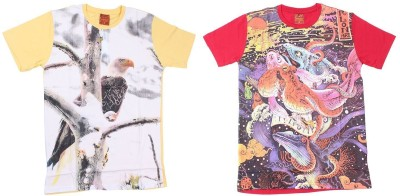 LE PEBBLE Printed Men's Round Neck Yellow, Red T-Shirt