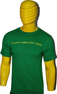 Kavin Printed Men's Round Neck Green T-Shirt