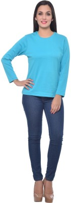 Frenchtrendz Solid Women,s Round Neck Blue T-Shirt