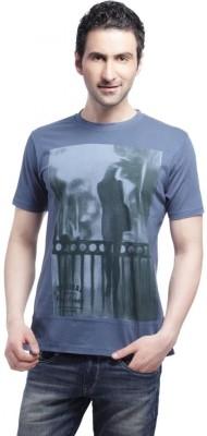 Cross Creek Printed Men's Round Neck Blue T-Shirt