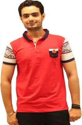 GOPAL EMPORIUM Printed Men's Mandarin Collar Red T-Shirt