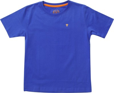 SuperYoung Solid Boy's Round Neck Blue T-Shirt