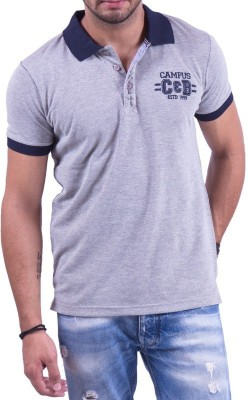 Cotton & Blends Solid Men's Polo Neck Grey T-Shirt