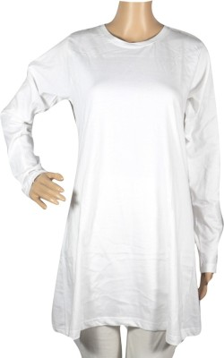 Trade Winds Solid Women's Round Neck White T-Shirt