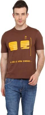 Filmwear Graphic Print Men's Round Neck Brown T-Shirt