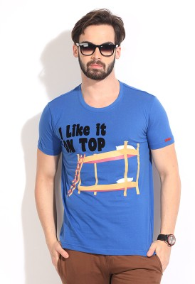 Comedy Central Printed Men's Round Neck Blue T-Shirt