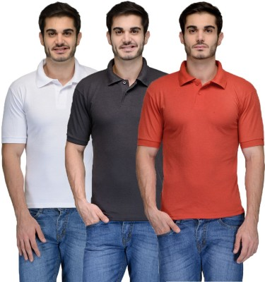 Feed Up Solid Men's Polo Neck Black, Red, White T-Shirt