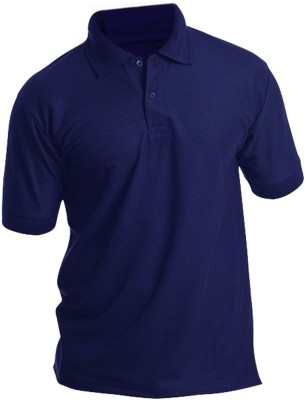 Silver Swan Solid Men's Polo Blue T-Shirt