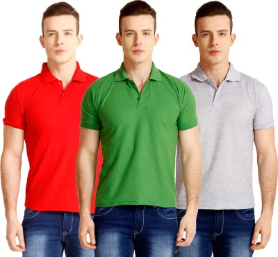 Nimya Solid Men's Polo Neck Green, Red, Grey T-Shirt