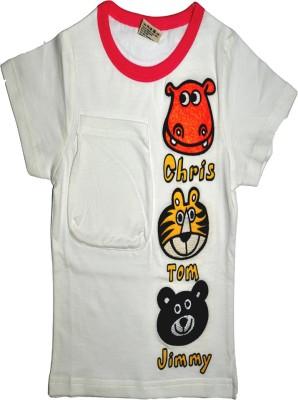 Babyaddis Printed Boy's Round Neck White T-Shirt